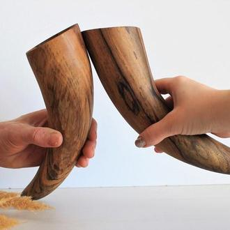 бокал из дерева, бокал/рог для вина, свадебные бокалы