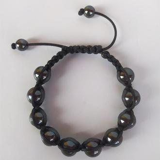 Браслет - Шамбала из камня гематит