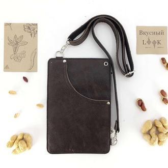"""Кожаный поясной карман, сумка для денег """"Арахис"""" (коричневый)"""
