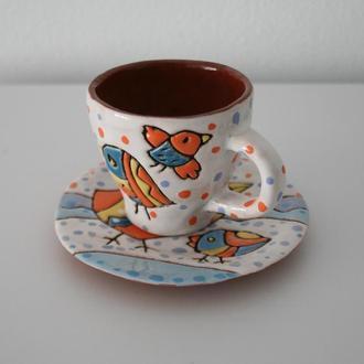 """Керамическая кофейная чашка с блюдцем """"Птички"""". Чашка для эспрессо"""
