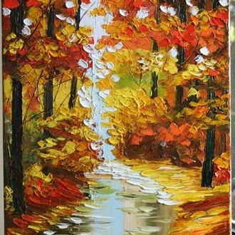 "картина маслом ""Осенний лес"""