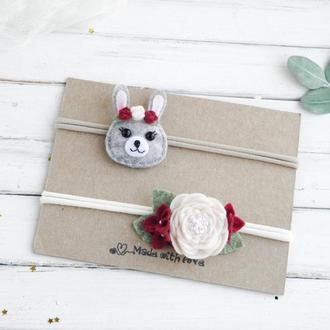 Красивые повязки для девочки / Набор повязок для малышки на праздник / Пов'язки для дівчинки