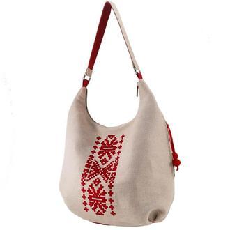 Белая текстильная сумка с набивным бархатным принтом (овальное дно)