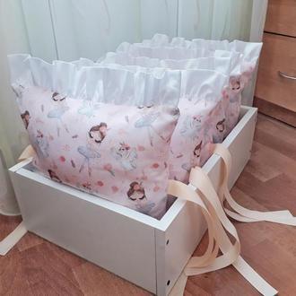 Комплект бортиков в детскую кроватку с балеринами