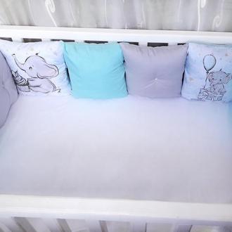 Комплект бортиков в детскую кроватку со слоником