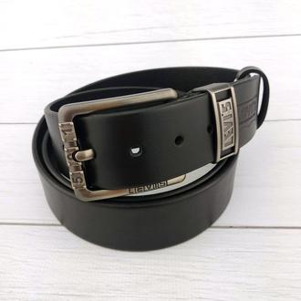 Ремень мужской кожаный SF-406 black (реплика Livi's) (4 см)