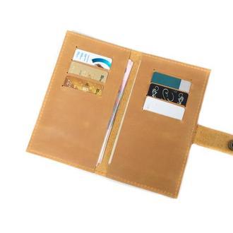 Классический бумажник из натуральной кожи. 08002/желтый