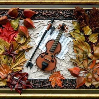 """Картина из кожи """"Осенний блюз"""""""