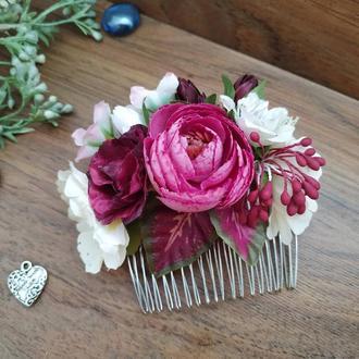 Гребень свадебный в цвете Бургунди Гребень с цветами