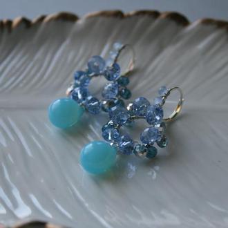 Голубые капли серьги