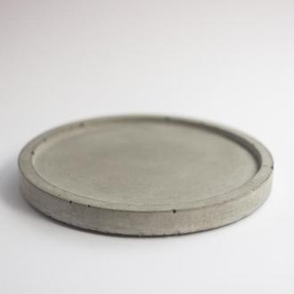 Бетонная, круглая тарелочка подставка для горшка, украшений, ключей