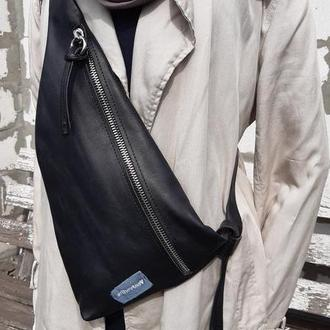 Натуральная кожа.  Однолямочный рюкзак,  слинг, поясная сумка