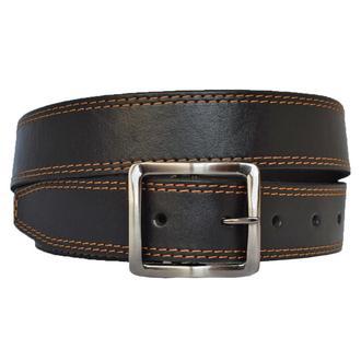 Versal кожаный мужской черный ремень со строчкой для джинс
