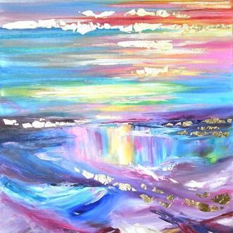 Картина маслом Океан абстрактная живопись 80х60 см