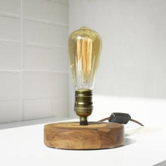 Деревянная Лампа Эдисона, Настольная декоративная лампа в стиле лофт, Деревянный Светильник Ночник
