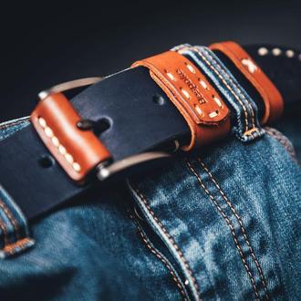 Navy Мужской кожаный пояс темно-синий/Подарок мужчине/Кожаный ремень под джинсы