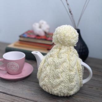 Грелка для чайника заварника, Вязаная грелка с помпоном, Вязаный декор