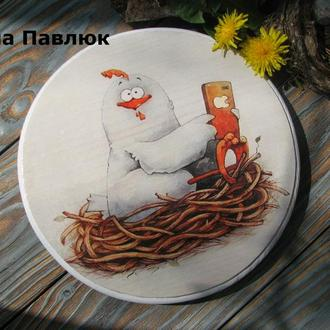 Кухонна дошка, панно, подставка ′Продвинута курочка′