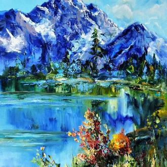 """Картина маслом """"Горы в солнечном сиянии"""" горный пейзаж 80х60 см"""