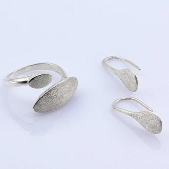 Серебряное кольцо и серьги Геометрия