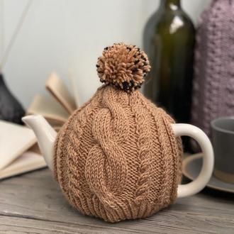 Грелка на чайник, Вязаная грелка с помпоном, Грелка для заварника