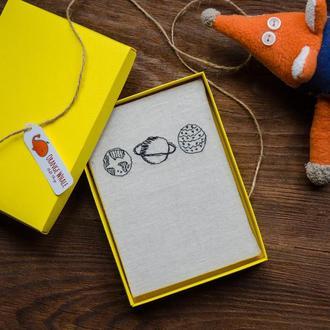 Блокнот ручной работы в подарочной коробке с вышивкой планеты, космос