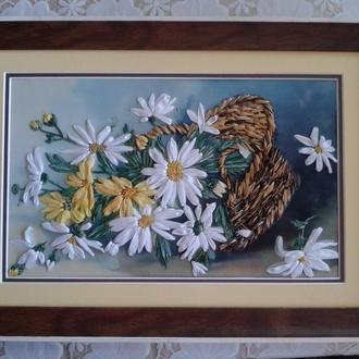 Картина вишивка стрічками Ромашки