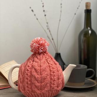 Вязаная грелка на чайник, Грелка шапка с помпоном, Грелка декор для заварника