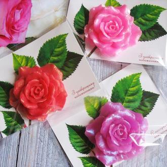 Мыло  роза на открытке