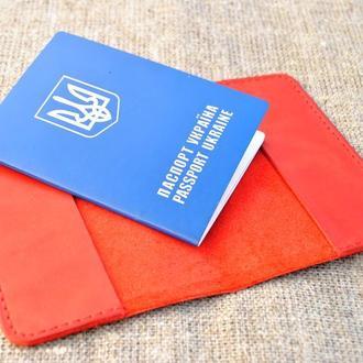 Обложка для паспорта из натуральной кожи красного цвета ручной работы P01-580