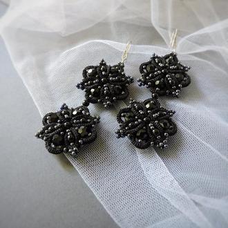 Черные кружевные серьги фриволите , длинные вечерние серьги с матовым жемчугом