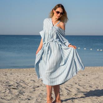 Туника платье из льна для дома и отдыха