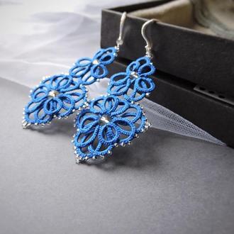 Синие кружевные серьги фриволите 'Morgan' , длинные вечерние серьги