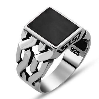 Серебряное мужское кольцо с натуральным камнем Черный Оникс