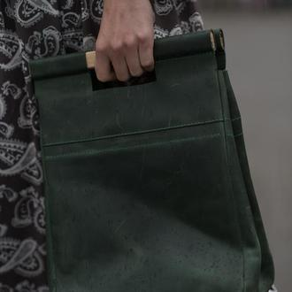 Кожаная сумка для обедов с деревянными ручками зеленый