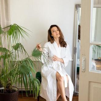 Вафельний халат для дому , натуральний халат для дому , домашній халат , бавовняний халат