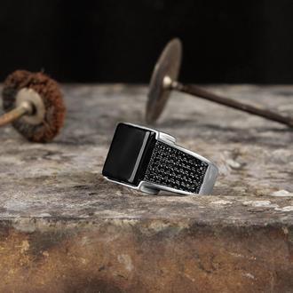 Серебряное мужское кольцо с натуральным камнем Матовый Оникс