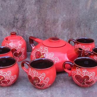 """Чайный набор Большой, декор """"Сердце"""" красный"""