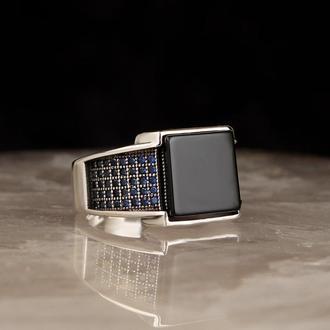 Серебряное кольцо 925-й пробы с матовым ониксом