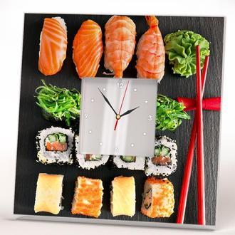 """Часы с рисунком японской еды """"Суши, сашими, роллы"""" для кухни"""