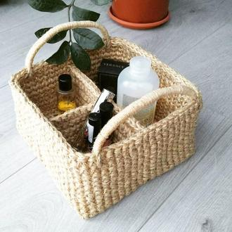Джутовая корзинка органайзер с деревянным донышком