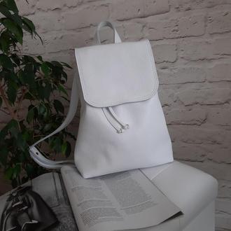 Рюкзак из натуральной кожи. Цвет белый.