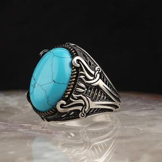 Серебряная мужская печатка с натуральным камнем Бирюза Мечи