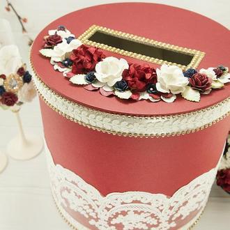 Сундук для денег бордовый / Скриня для грошей бордова / Коробка весільна марсала /Синяя