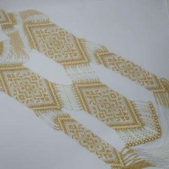Эксклюзивный гердан в два уровня бело-золотой цвет