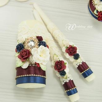 Венчальные свечи бордовые / Сімейне вогнище для весілля / Синие свечи / Семейный очаг айвори