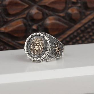 Серебряная мужская печатка с гравировкой Лев