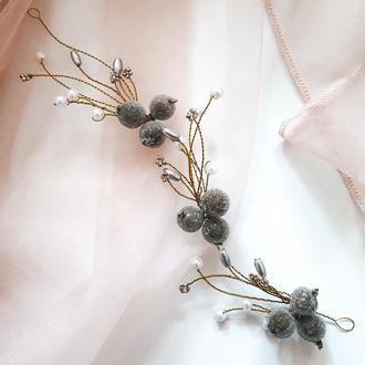 Свадебная веточка для прически, украшение для свадебной прически, заколка, веточка на выпускной