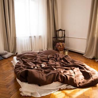 """Комплект постільної білизни """"Шоколад"""",льняное постельное белье в коричневом цвете,постельное из льна"""