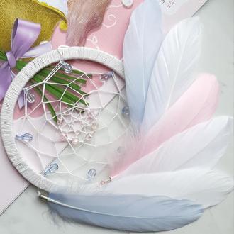 Ловец снов белый пастель/ловець снів ніжний/декор для дома /оберег